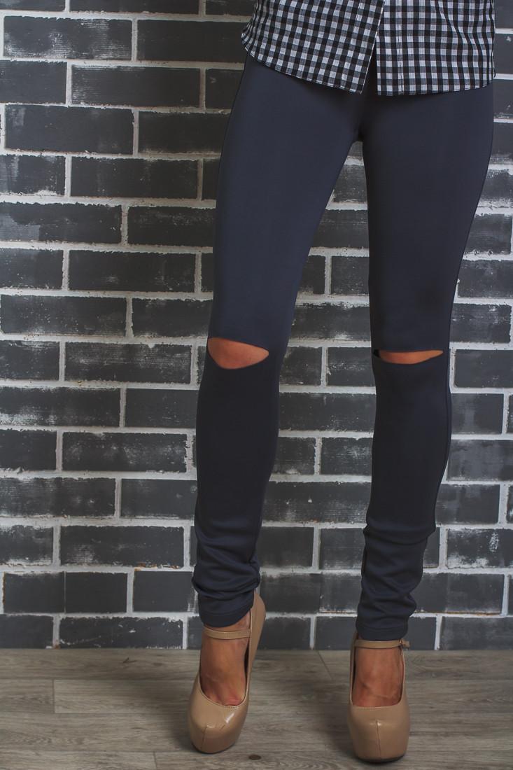 Лосины женские с разрезами на коленях темно-серые