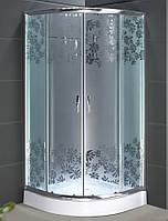 Душевая кабина SANTEH 9001W (90*90*1,95м) поддон 15см хром/FLOWERS