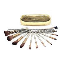 Набор кистей для макияжа 12 штук Naked gold в чехле