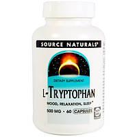 L-Триптофан 500 мг 60 капс Антидепрессанты натуральное снотворное Source Naturals USA