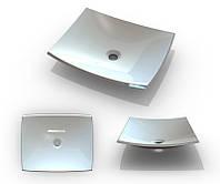 Квадратной формы белый умывальник из литого мрамора без отверстия под смеситель Буль-Буль NATURA 500