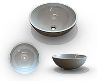 Умывальник в ванную комнату из литого мрамора в форме чаши от Буль-Буль Mona 420 без отверстия под смеситель