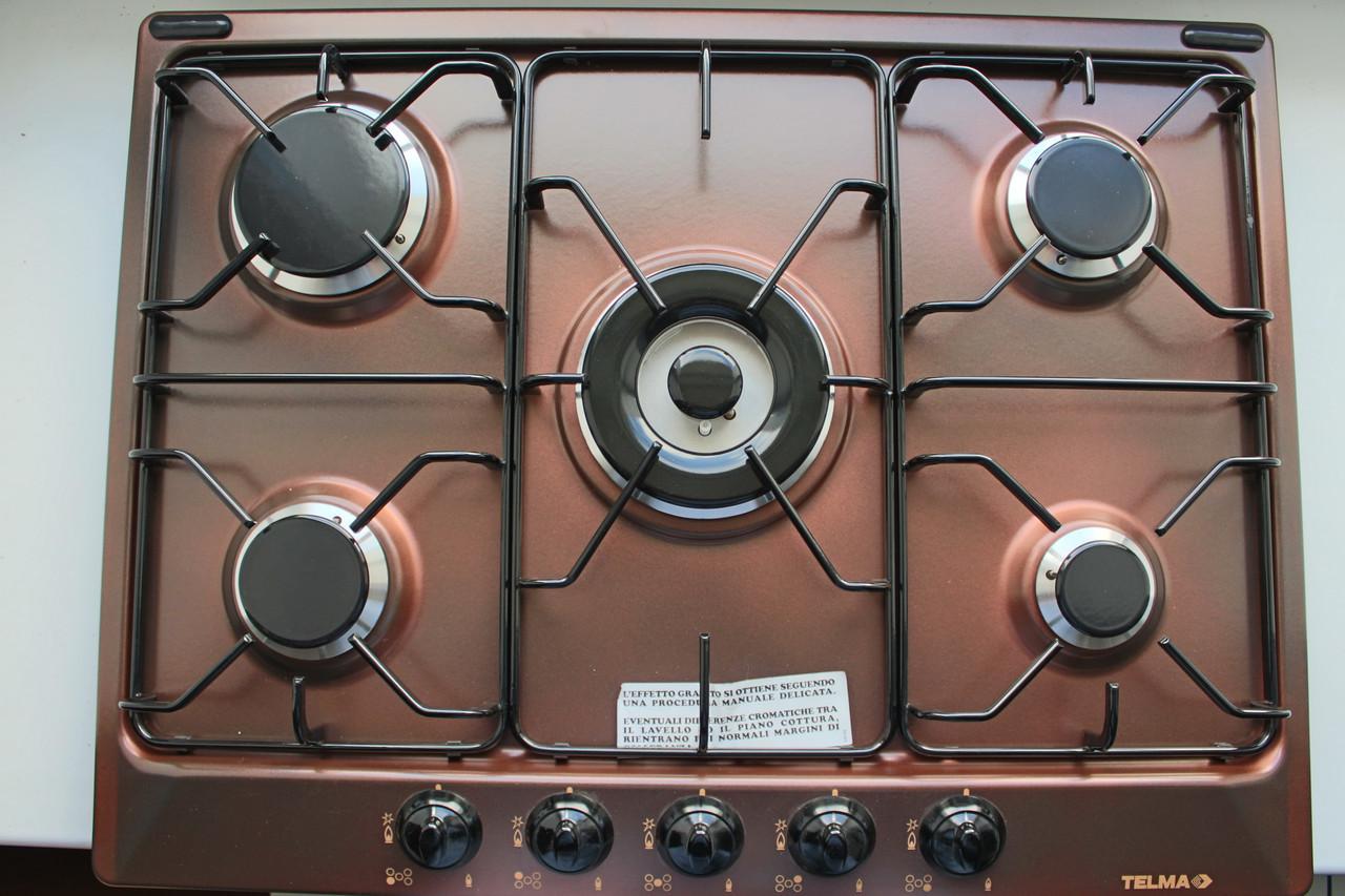 Встраиваемая газовая варочная плита 5 конфорок TELMA SPACE PCT705V Copper - 70 коричневого цвета
