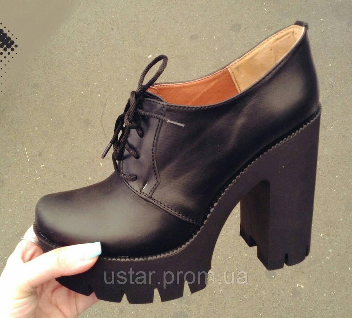 Туфли женские черные на шнурках на толстом каблуке Натуральная Замша   Кожа 1f6599d913947