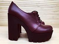 Туфли женские бордовые на шнурках на толстом каблуке Натуральная Замша / Кожа