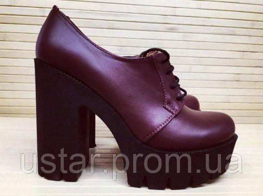 Туфли женские бордовые на шнурках на толстом каблуке Натуральная Замша    Кожа bc5facc03aadf