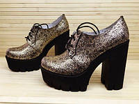 Туфли женские золототыстые на шнурках на толстом каблуке Натуральная Замша / Кожа