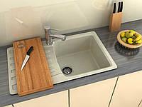 Кухонная мраморная мойка от производителя MOKO NAPOLI с одной чашей и крылом, цвет - beige, прямоугольная