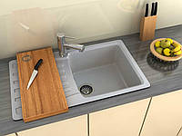 Врезная мраморная кухонная мойка с одной чашей и крылом от производителя MOKO NAPOLI цвет - nebbia