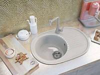 Мраморная врезная мойка с одной чашей и крылом в кухню овальной формы от MOKO VERONA цвет - vanilla