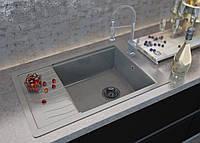 Для кухни врезная мраморная мойка с одной чашей и крылом прямоугольной формы  от MOKO FIRENZE цвет - nebbia