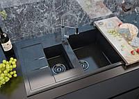 Мраморная кухонная мойка полуторочашевая с крылом прямоугольной формы от MOKO MILANO цвет - nero brilliante