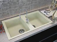 Прямоугольной формы кухонная мраморная мойка с двумя чашами от производителя MOKO PALERMO цвет - beige