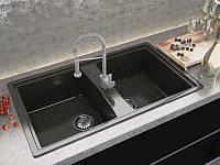 Кухонная мраморная мойка PALERMO с двумя чашами, цвет - nero brilliante, от производителя MOKO