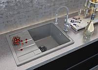 Кухонная мраморная мойка с одной чашей и крылом от производителя Moko модель Torino цвет - nebbia, врезная