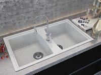 Кухонная врезная мойка из мрамора с двумя чашами от производителя MOKO PALERMO цвет - vanilla, прямоугольная