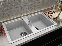 Прямоугольной формы врезная кухонная мраморная мойка с двумя чашами от MOKO PALERMO цвет - nebbia