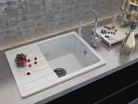 Кухонная мраморная мойка с одной чашей и крылом от производителя MOKO TORINO цвет - vanilla, врезная