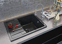 Врезная мойка для кухни Torino с одной чашей и крылом от Moko прямоугольной формы цвет - nero brilliante
