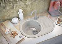 Мраморная кухонная мойка с одной чашей и крылом от производителя Moko Verona цвет - marmo elegante