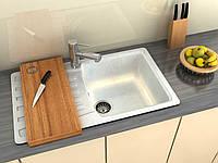 Кухонная мраморная мойка с одной чашей и крылом от Moko модель Napoli цвет - onyx bianco, врезная