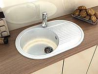 Кухонная мраморна мойка с крылом овальной формы от производителя MOKO VERONA цвет - onyx bianco, врезная
