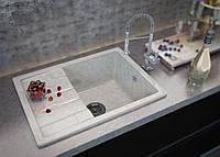 Мраморная кухонная мойка с одной чашей и крылом от производителя Moko модель Torino цвет - marmo elegante