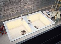 Двухчашевая кухонная мойка из мрамора от производителя Moko Palermo цвет - onyx bianco, прямоугольной формы