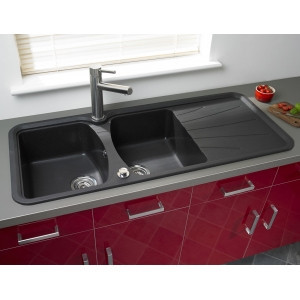 Мойка кухонная LONGRAN PREMIUM KORONA 2.0 Volcano Black (Granite)