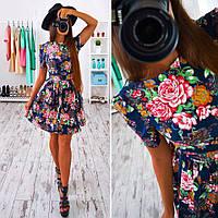 Женское стильное платье -рубашка с цветочным принтом (2 цвета)
