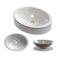 В ванную комнату овальный умывальник из литого мрамора без отверстия под смеситель и перелива Буль-Буль Pat
