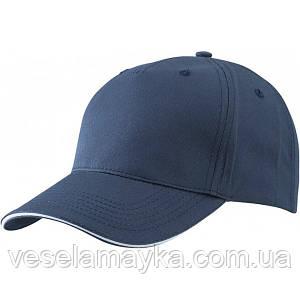 Темно-синяя кепка-сэндвич с белой вставкой