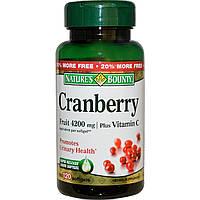Клюква с витамином C, Nature's Bounty, 4200 мг, 120 гелевых капсул.  Сделано в США.