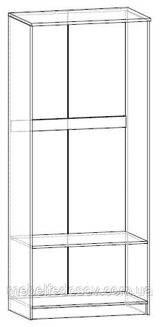 Даллас; шкаф 2Д; каштан (Мебель сервис) схема