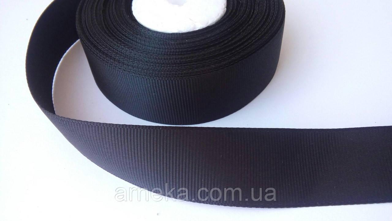 Репсова стрічка 2,5 см чорна