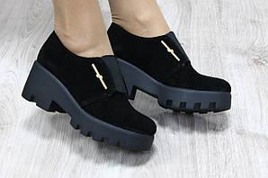 Туфли черные замшевые на резинке