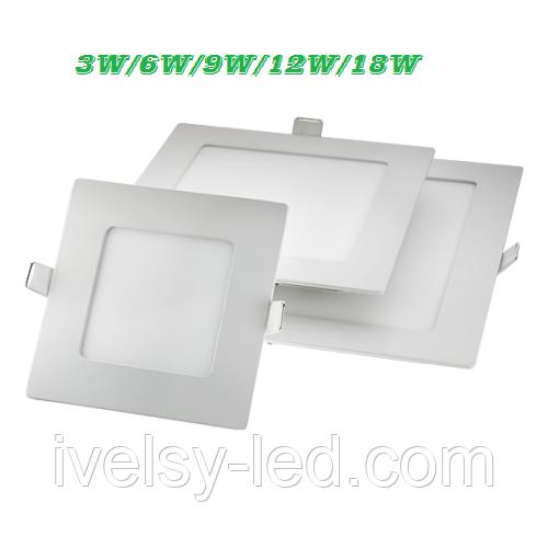 Светильник LED врезной - (3/6/9/12/18 Вт), 4200/6400K, Lezard