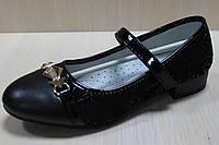Подростковые черные туфли на девочку , детская школьная обувь тм Том.м р. 33,35,36