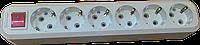 Колодка 6 гнезд с/з с кнопкой ElectroHouse