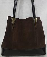 Женская сумка из натурального замша. темный коричневый