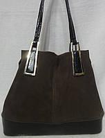 Женская сумка из натурального замша. светлый коричневый
