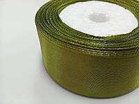 Цветная лента атласная зелёная, 25 мм (для канзаши)