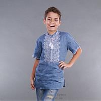 Вышиванка для мальчика лен джинс короткий рукав