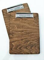 Планшет меню А5 с зажимом-проволочка, дерево
