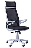 Кресло Tesla сетка черная/каркас серый