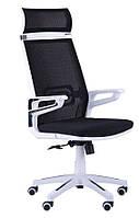 Кресло Tesla сетка черная/каркас белый