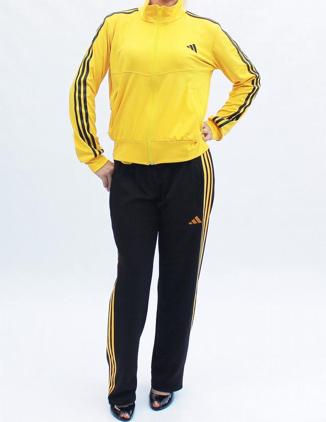 модный женский спортивный костюм с желтой кофтой