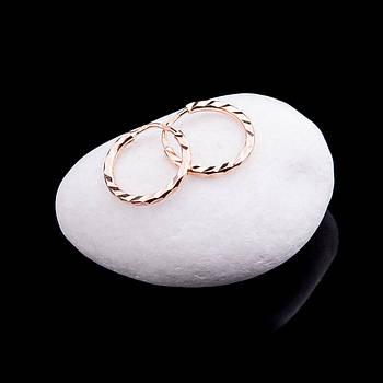 Золотые серьги кольца с алмазной гранью диам. 10 мм
