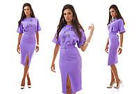 Фиолетовое платье ниже колен с разрезом впереди. Арт-1034/16
