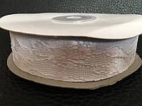 Атласная лента белая  с кружевом 2,5 см